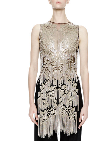 Alexander McQueen Sleeveless Metallic-Chain Embellished Tunic, Black