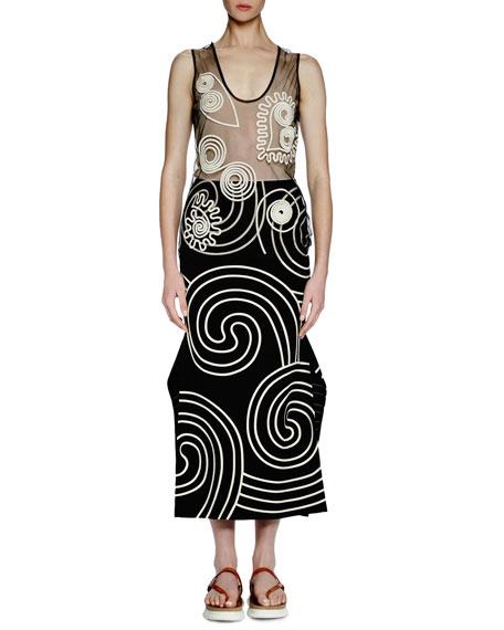 Stella McCartney Sleeveless U-Neck Embroidered Tunic, Black