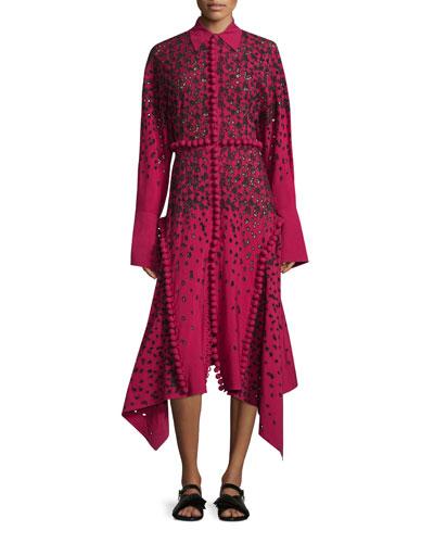 Long-Sleeve Degrade Embroidered Eyelet Dress, Magenta/Black