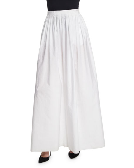 THE ROW Vopa Pleated Wide-Leg Cotton/Linen Pants, White