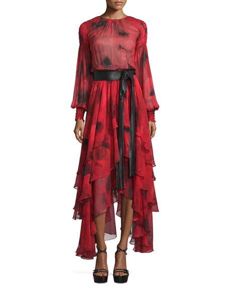 Michael Kors Collection Long-Sleeve Tiered Silk Peasant Gown,