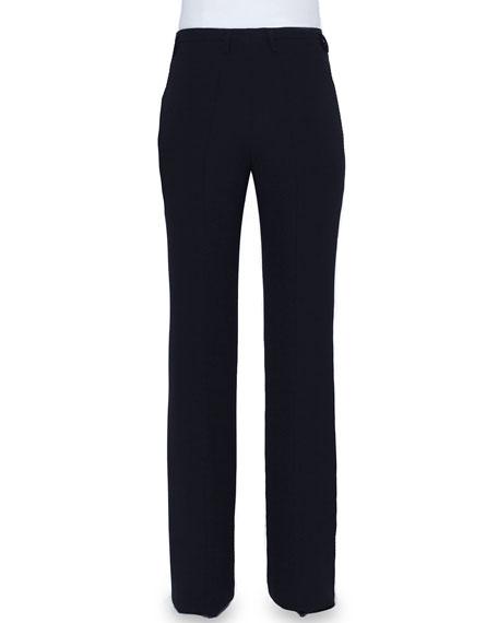 Flare-Leg Mid-Rise Pants, Black