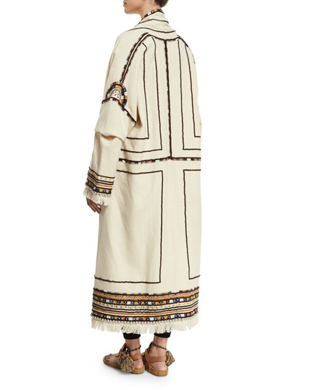 Open-Front Embroidered Long Coat, Ecru