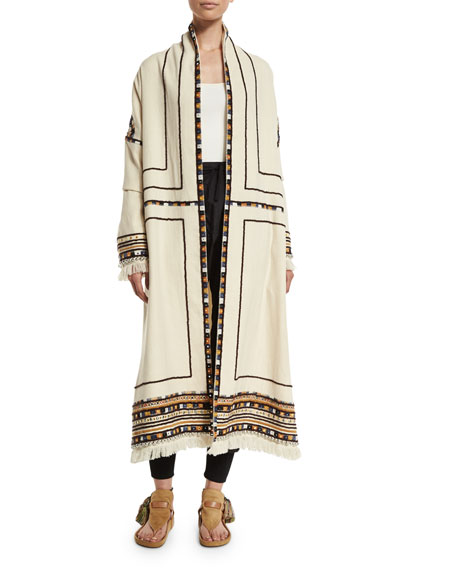 Isabel Marant Open-Front Embroidered Long Coat, Ecru