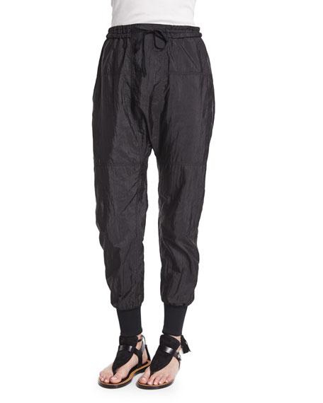Isabel Marant Drop-Rise Parachute Jogger Pants, Black