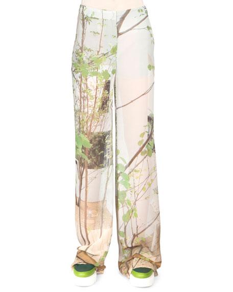Akris Printed Wide-Leg Pants, Multi Colors