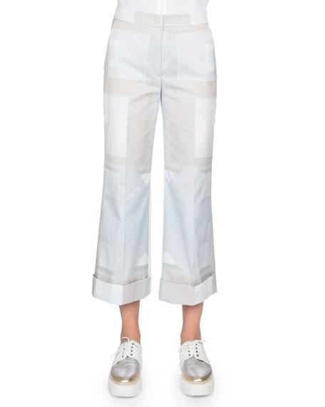 Akris Flare-Leg Cropped Pants, Blue