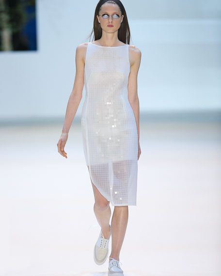Sleeveless Grid-Print Dress, Anemone