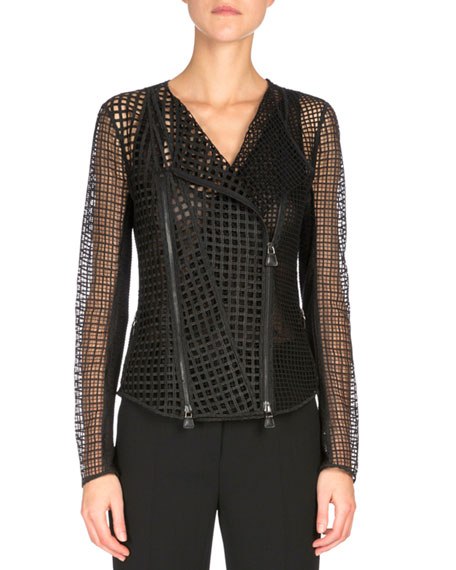 Akris Patchwork-Embroidery Moto Jacket, Black