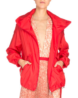 Long-Sleeve Zip-Front Parka, Red