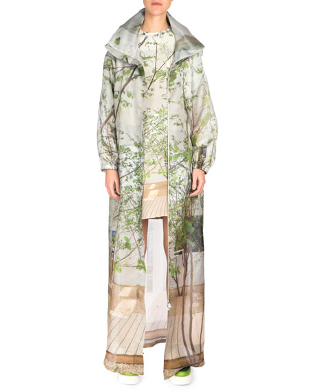 Akris Long-Sleeve Printed Parka, Multicolor