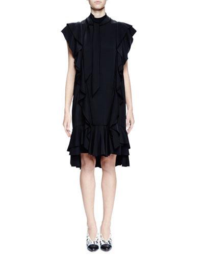 Cap-Sleeve Shift Dress W/Ruffles, Black