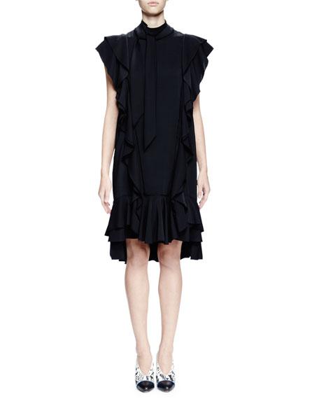Lanvin Cap-Sleeve Shift Dress W/Ruffles, Black
