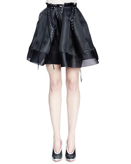 Lanvin Full Skirt W/Horsehair Banded Hem, Black