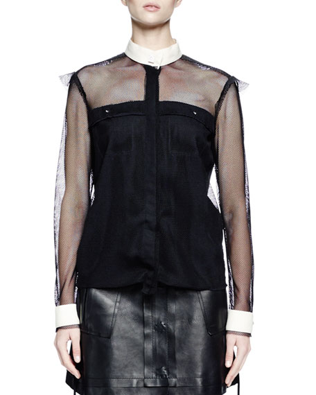 Lanvin Long-Sleeve Fishnet Button-Front Blouse, Black