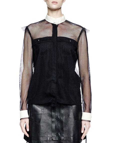 Lanvin Long-Sleeve Fishnet Button-Front Blouse, Black