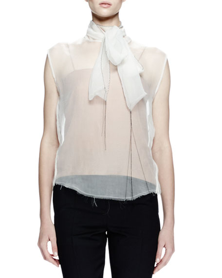 Lanvin Sheer Top W/Self-Tie Neck, Blush