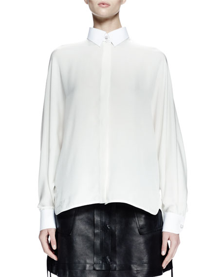 Lanvin Long-Sleeve Collared Shirt & Leather A-Line Mini