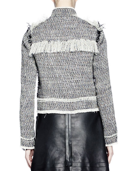 Long-Sleeve Jean-Style Jacket, Ecru