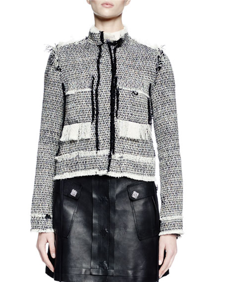 Lanvin Long-Sleeve Jean-Style Jacket, Fishnet Button-Front Blouse