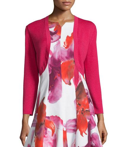 Long-Sleeve Basic Bolero, Hot Pink