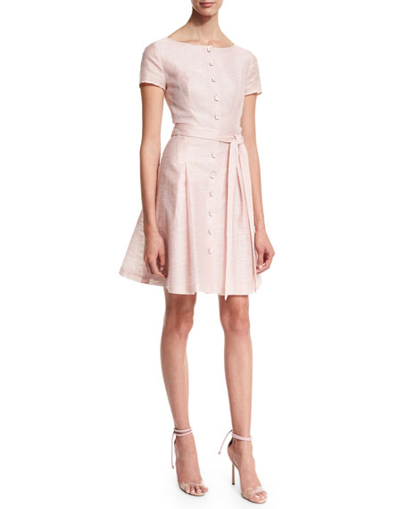 Carolina Herrera Short-Sleeve Button-Front Trench Dress, Pink