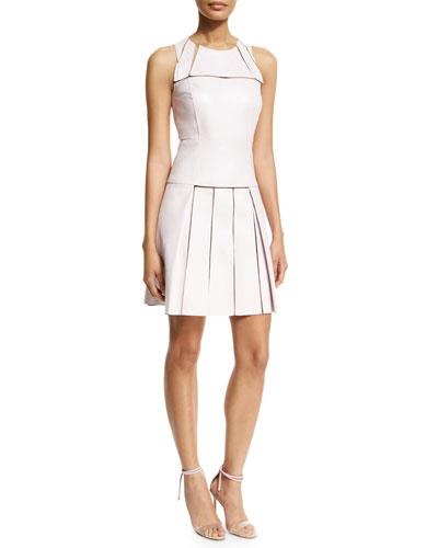 Sleeveless Cutout Pleated Dress, Pink