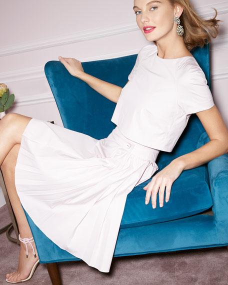 Short-Sleeve Trompe l'Oeil Dress, Lilac