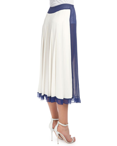 Pleated Skirt W/Sheer Trim, White/Blue