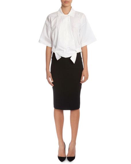 High-Waist Fitted Pencil Skirt, Black