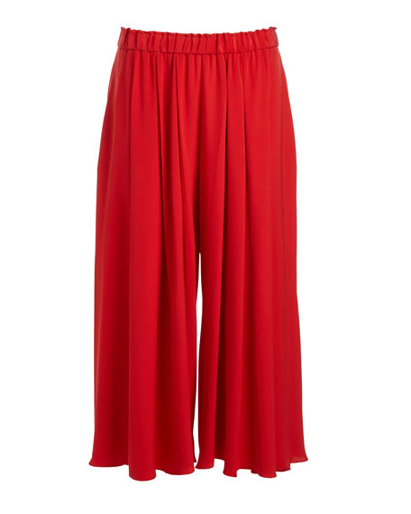 Elastic-Waist Pleated Culottes, Red