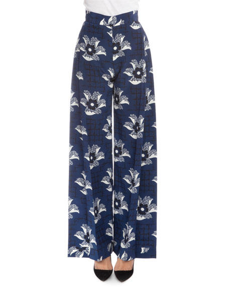 Victoria Beckham Pleated-Front Wide-Leg Pants, Navy