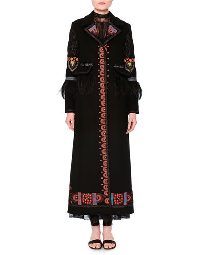 Ankle-Length Embroidered Coat, Black