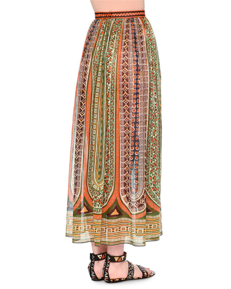 Pleated Ankle-Length Skirt, Orange/Green