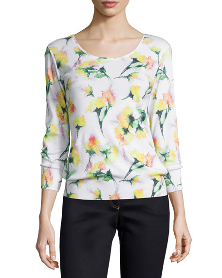 Escada 3/4-Sleeve Round-Neck Printed Tee, Multi Colors