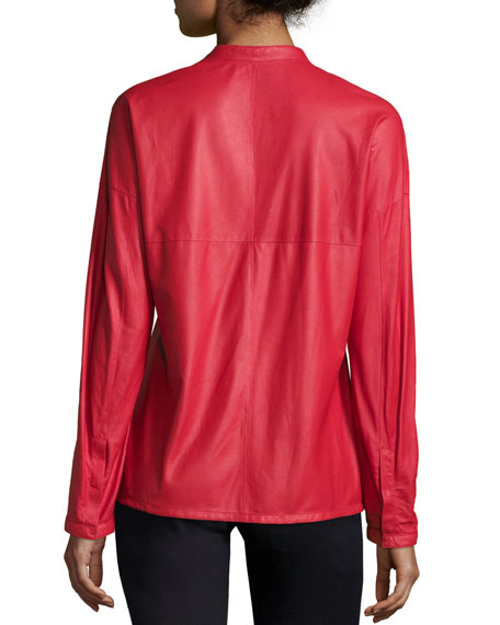 Long-Sleeve Snap-Front Leather Shirt, Cherry
