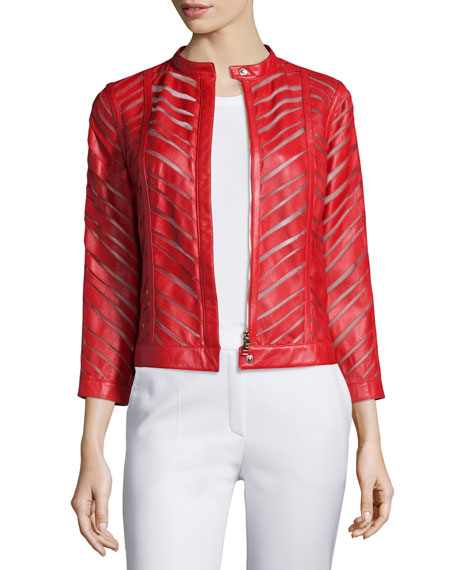 Escada Zip-Front Laser-Cut Leather Jacket, Cherry