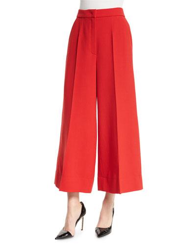 Wide-Leg Cropped Pants, Cherry