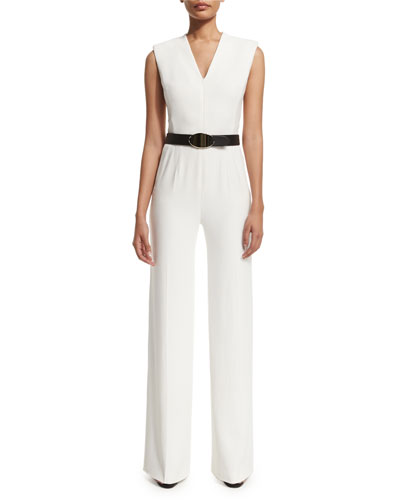Escada Sleeveless Zip-Front Belted Jumpsuit. Frost