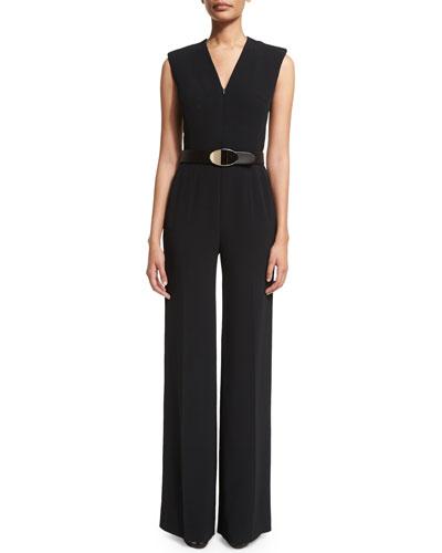 Escada Sleeveless Zip-Front Belted Jumpsuit. Black