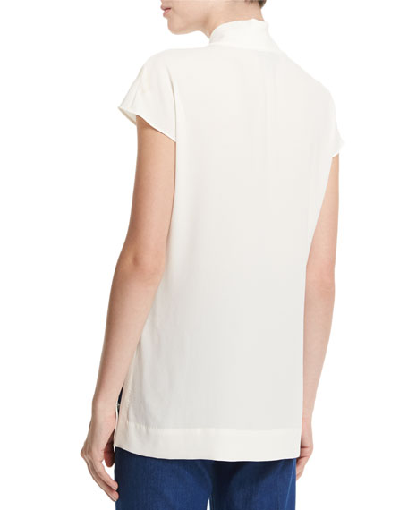 ESCADA Essential Cap-Sleeve V-Neck Shell, Off White, Offwht