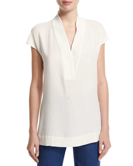 Escada Essential Cap-Sleeve V-Neck Shell, Off White