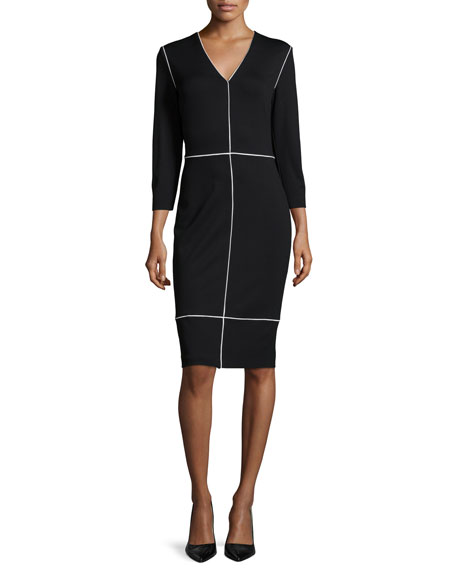 Escada Long-Sleeve Two-Tone Sheath Dress, Black