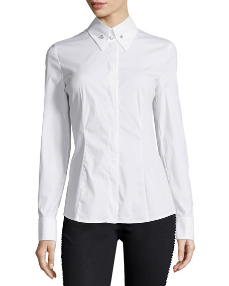 Escada French-Cuff Long-Sleeve Blouse, White