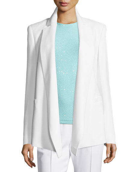 Escada Open-Front Draped Jacket, Jewel-Neck Embellished Tank &
