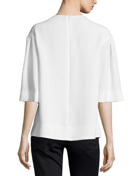 Beaded-Sunburst Half-Sleeve Blouse, Off White