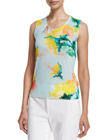 Escada 3/4-Sleeve Carnation-Print Cardigan, Scoop-Neck