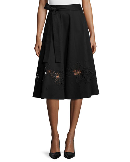 Escada Cotton Wrap Skirt W/Lace Inset, Black