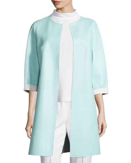 Escada Reversible Leather Long Jacket, Mock-Neck Sleeveless Top