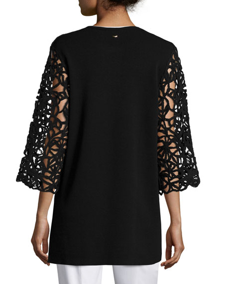 Corded-Lace Open-Front Cardigan, Black